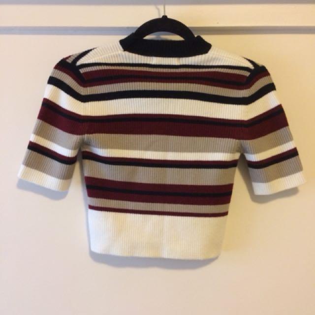 Nunui Red Black White Stripe Crop Shirt Size XS/6