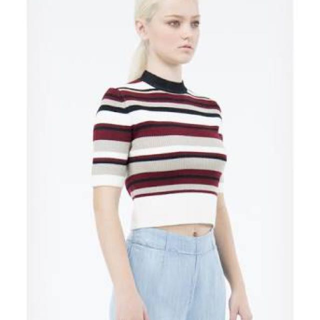 Nunui Red Black White Stripe Crop Shirt Size XS/6
