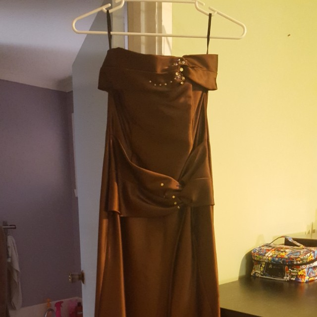 NWOT JESSICA MCCLINTOCK BROWN STRAPLESS DRESS (SIZE 8 US)