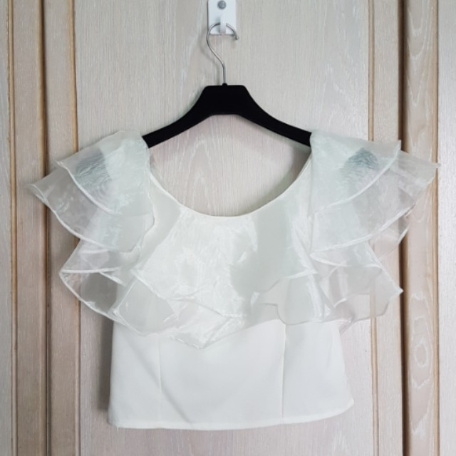 2835bb36a4845 Off Shoulder Crop Top with Organza Details