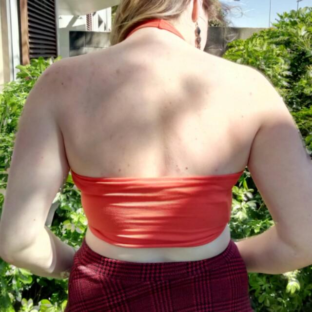 Orange Halter neck