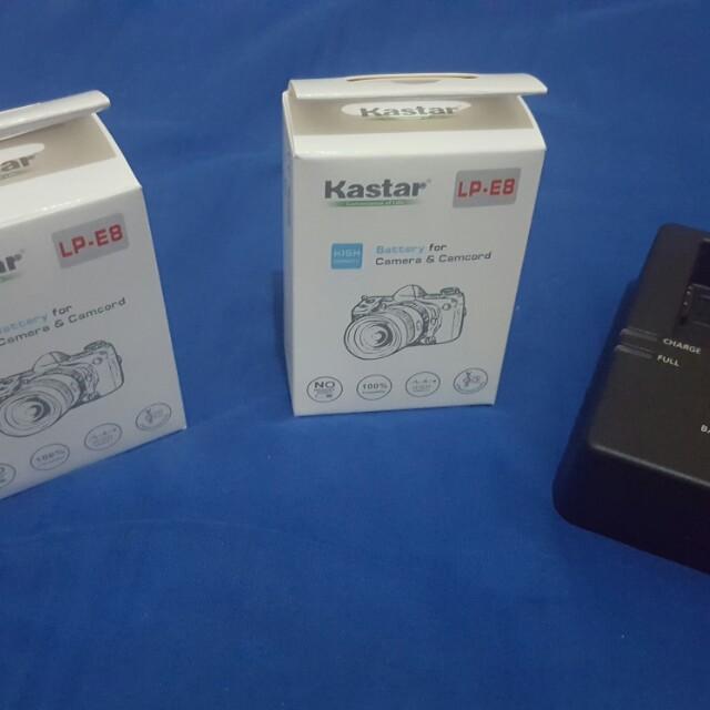 Original Canon Charger plus Kaster Batteries LP-E8
