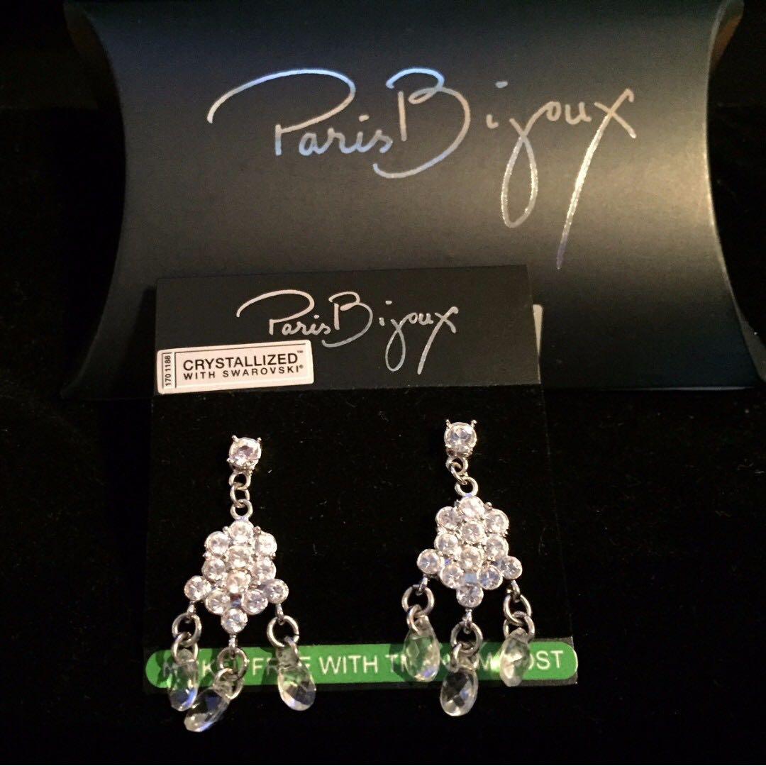 PARIS BIJOUX Swarovski crystals pierce earrings, Women's Fashion ...