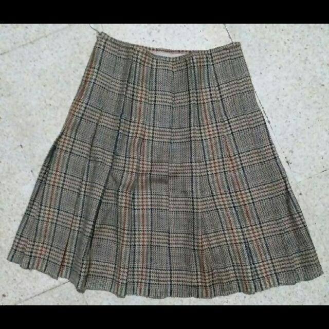 plaid Brown A line skirt