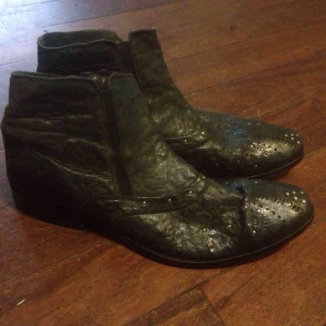 Politix men's leather studded black boots size 43