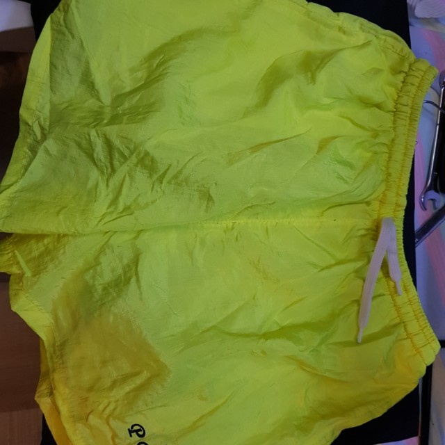 PP ISLAND fluro yellow running shorts size large