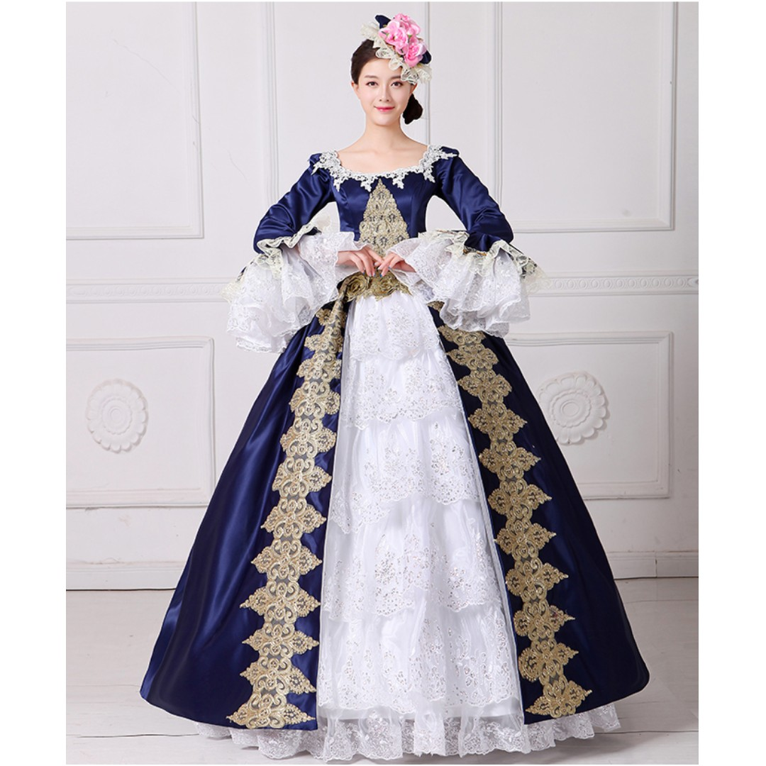 Pre order Medieval Blue White Victorian Lolita Ball Gown Dress ...