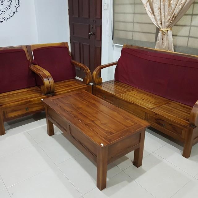 Table Wooden Sofa Set