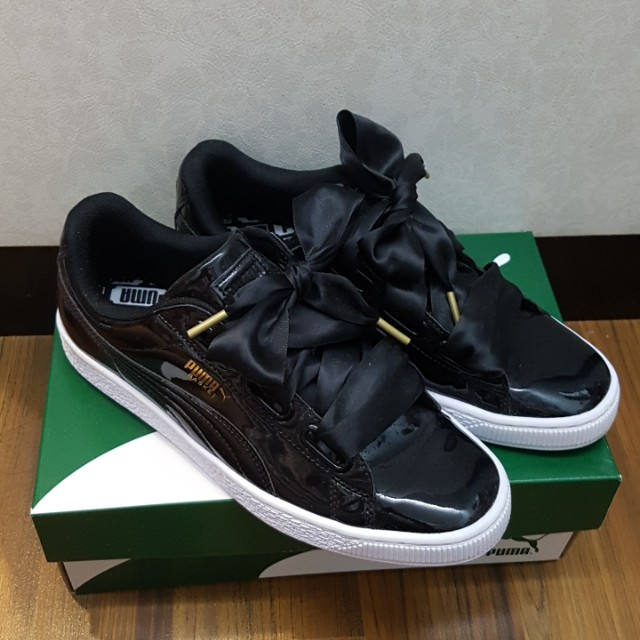 pick up 2496c e2a0d Puma Basket Heart Black Patent