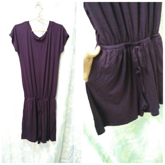 Purple one piece blouse and shorts