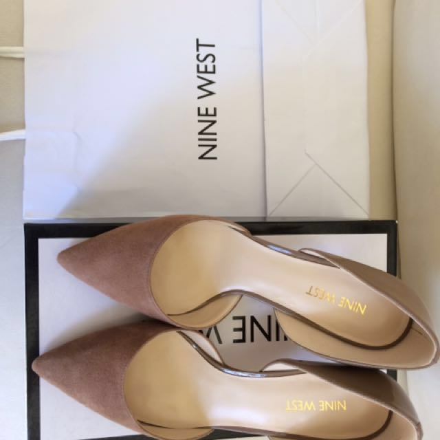 Real suede nude pointy heels nine west