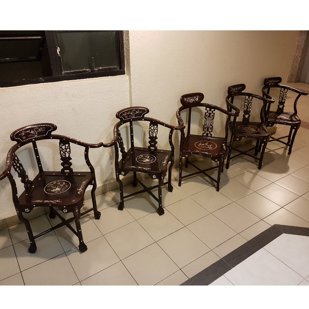Rosewood Chairs With Mother Of Pearl Inlay, Furniture, Home Decor, Antiques  On Carousell