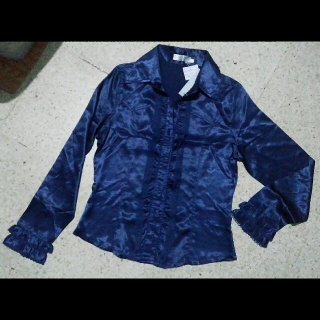 royal blue satin blouse