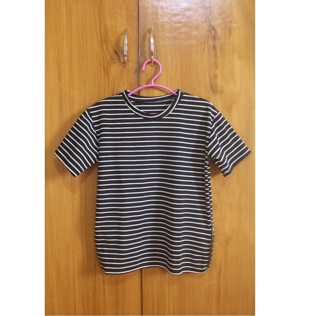 SALE! Boxy Zip Top - Black & White Stripes