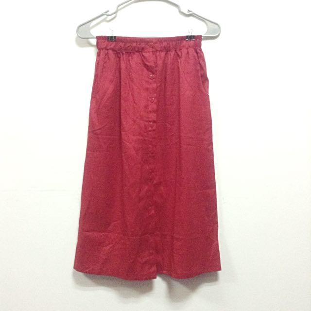 SALE! Red Midi Skirt With Pockets