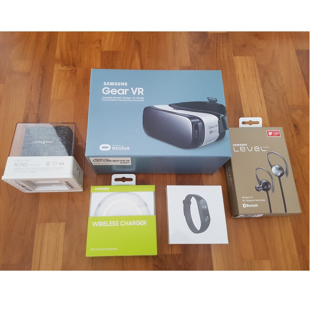 Samsung Level Active Bluetooth Headset Samsung Gear Vr Samsunsung Wireless Charger Xiaomi Mi Band 2 And Creative Bluetooth Speaker Mobile Phones Tablets Mobile Tablet Accessories On Carousell