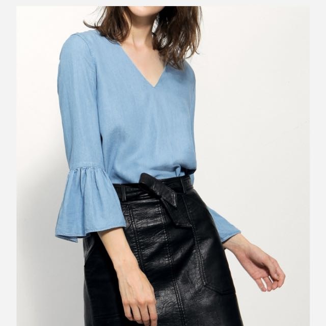 SaturdayClub V neck blouse with gathered bell sleeves