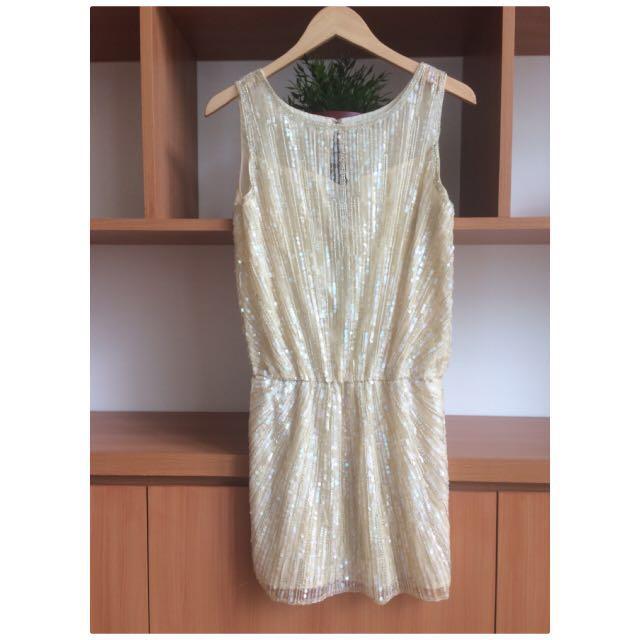 Sequin nude dress