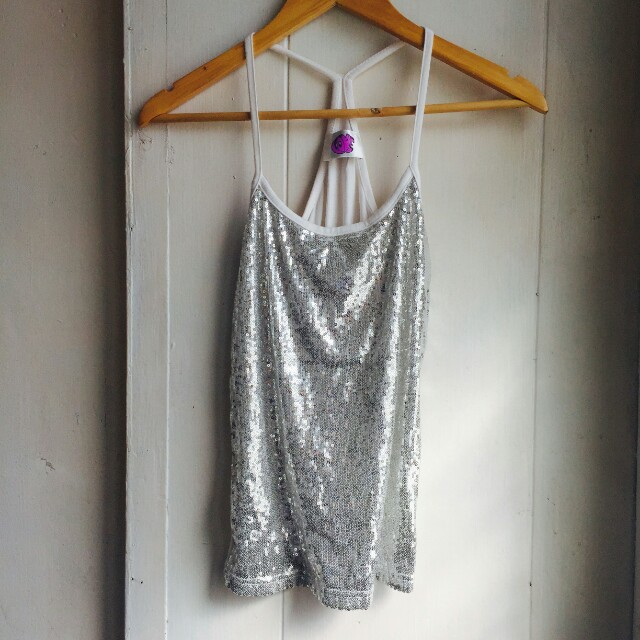 Sequined White Top