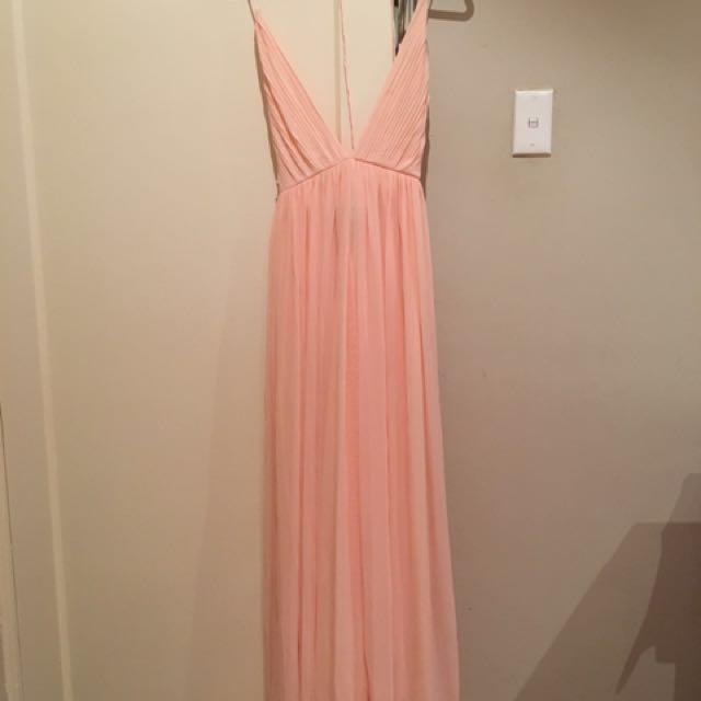 Strappy pink formal dress