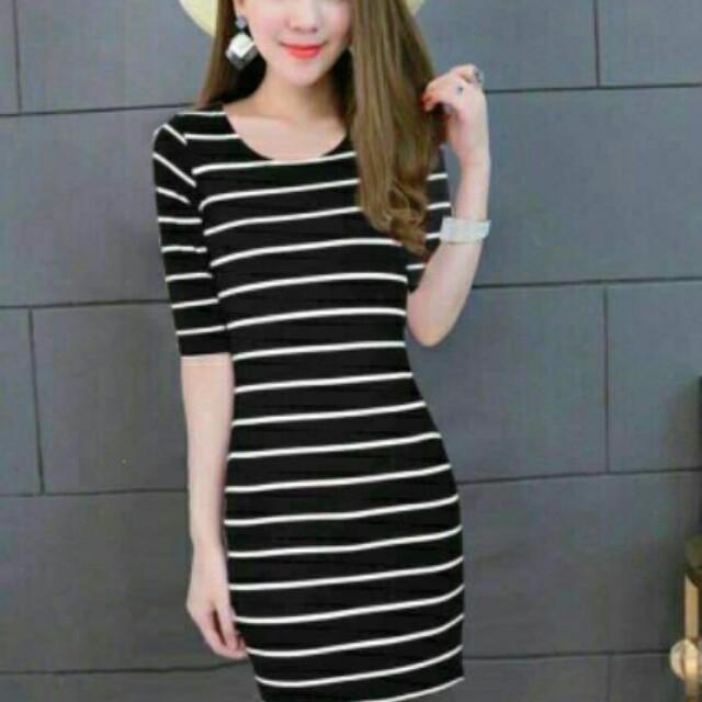 stripe bodycon dress