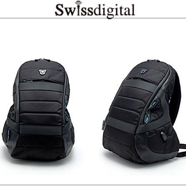 Swissdigital 黑色原力旅行運動 電力後背包(RFID) - 獨立黑 大容量 全新