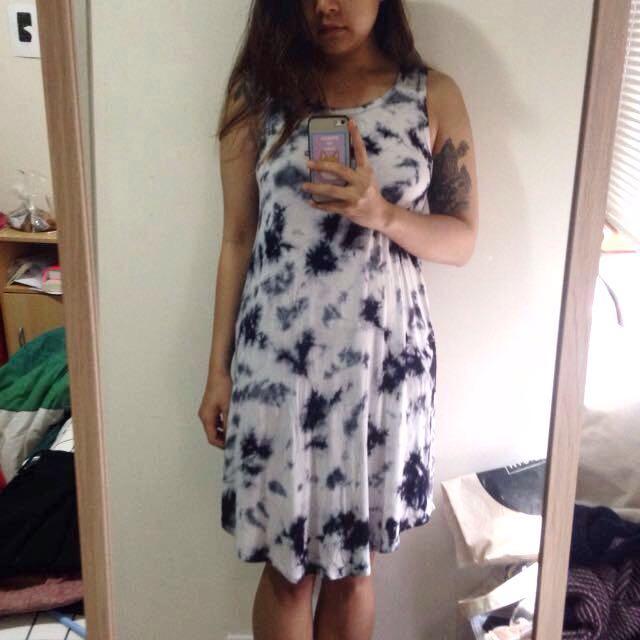 Tie-dye indigo tank dress