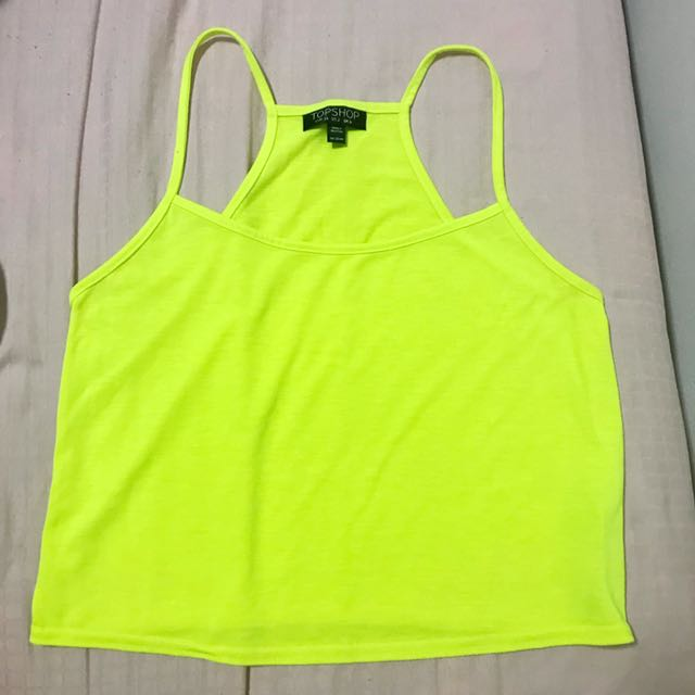 595f8a98466 Topshop Cropped Top in Neon Yellow, Women's Fashion, Clothes, Tops ...