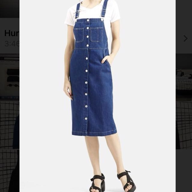 Topshop dark blue denim overall/dungaree pinafore midi dress