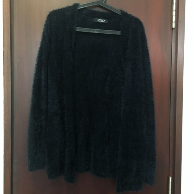 TOPSHOP fluffy teal cardigan