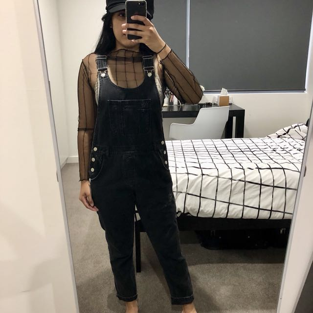 Topshop washed black distressed denim overall/dungarees