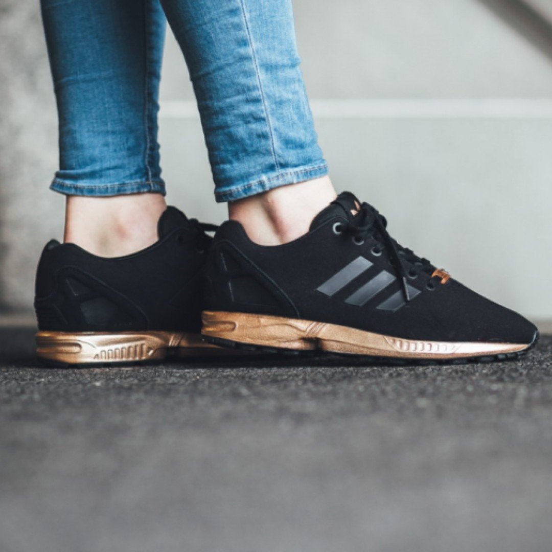 UK4.5 Adidas Womens ZX Flux Black Metallic Copper   Rose Gold ... 70cf458cfb