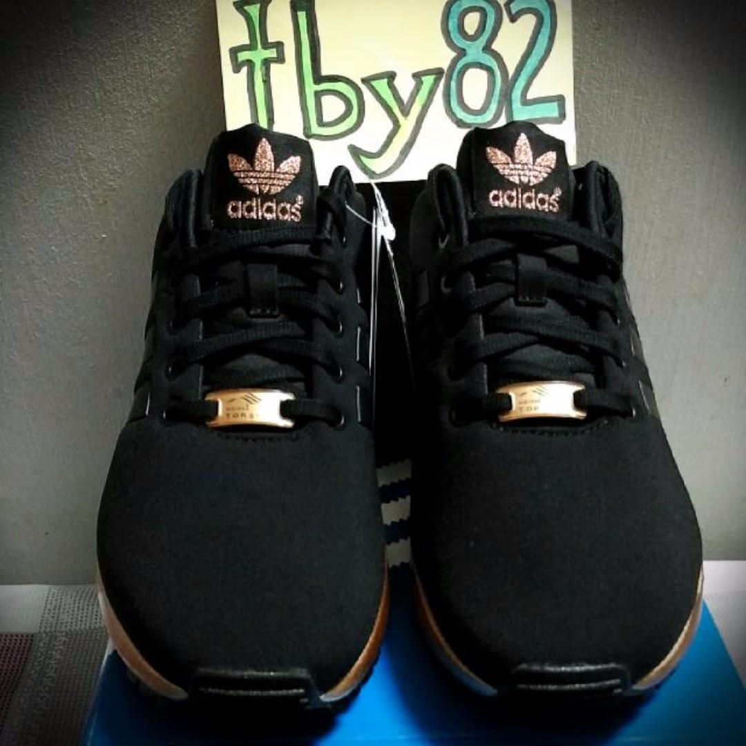 81f070556 UK4.5 Adidas Womens ZX Flux Black Metallic Copper   Rose Gold ...