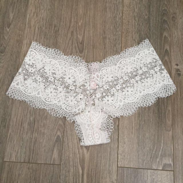 Victoria's Secret White Crochet Lace Cheeky Panties