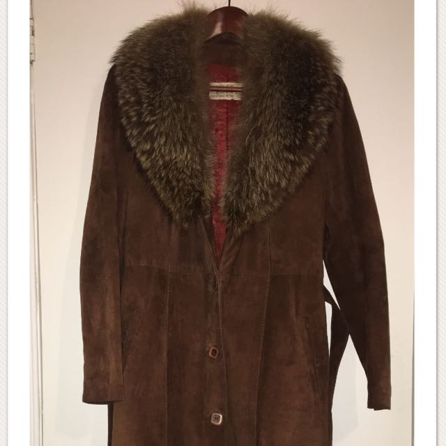 Vintage Suede and Raccoon Fur Trim Trench