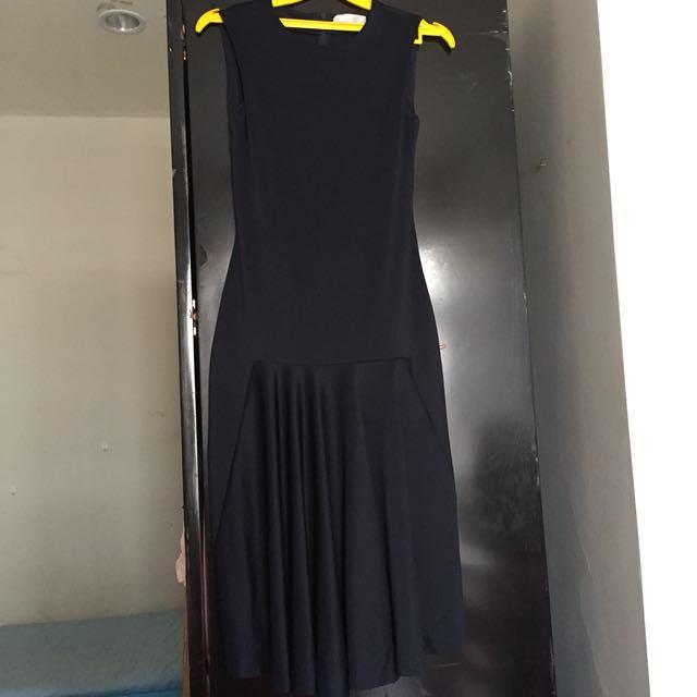 zara collection long dress s dark blue