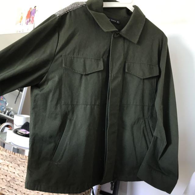 Zara olive coat with sequins at back