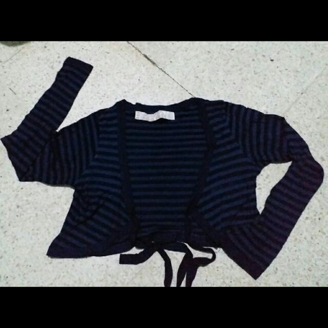 zara striped black navy cardigan