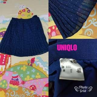 UNIQLO 雪紡紗百褶裙 藍色