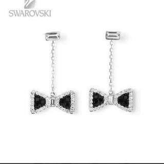 SWAROVSKI【正品】全新黑色蝴蝶結耳環