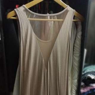 Bare back nude color maxi dress