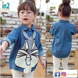 (Free Delivery) Baby Clothing Girls Clothing Long Sleeve Shirt Blouse Top Rabbit (1-7 Years)