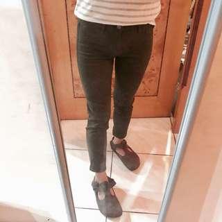 Uniqlo超顯瘦緊身9分褲 墨綠色