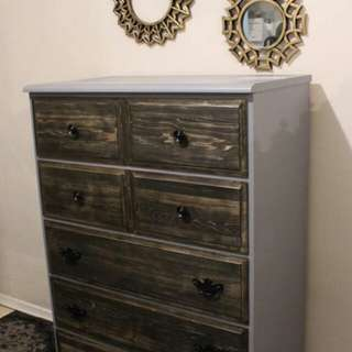 RUSTIC TWO TONED 5 DRAWER DRESSER