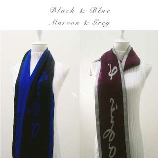 BNWT AUTH • •Agnés b. Black & Blue Winter Scarf