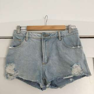 Ripped Denim mini shorts