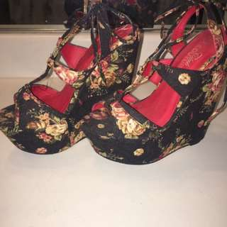 Club Couture floral wedge shoes