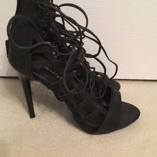 Lace up black heels size 10