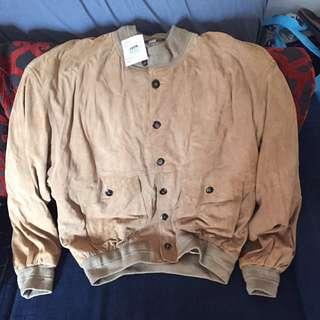 Vintage Suede Camel Bombers Jacket