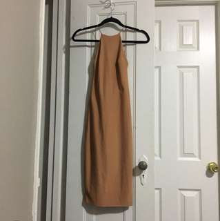Nude Backless Halter Dress Size 4